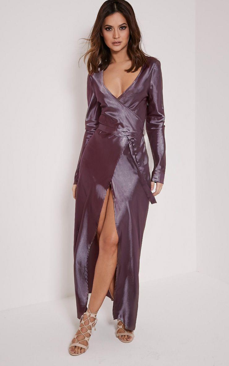 Aileen Purple Wrap Front Tie Waist Maxi Dress 1