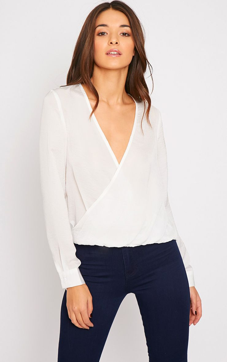Ruby White Silky Wrap Over Front Top -XS 1