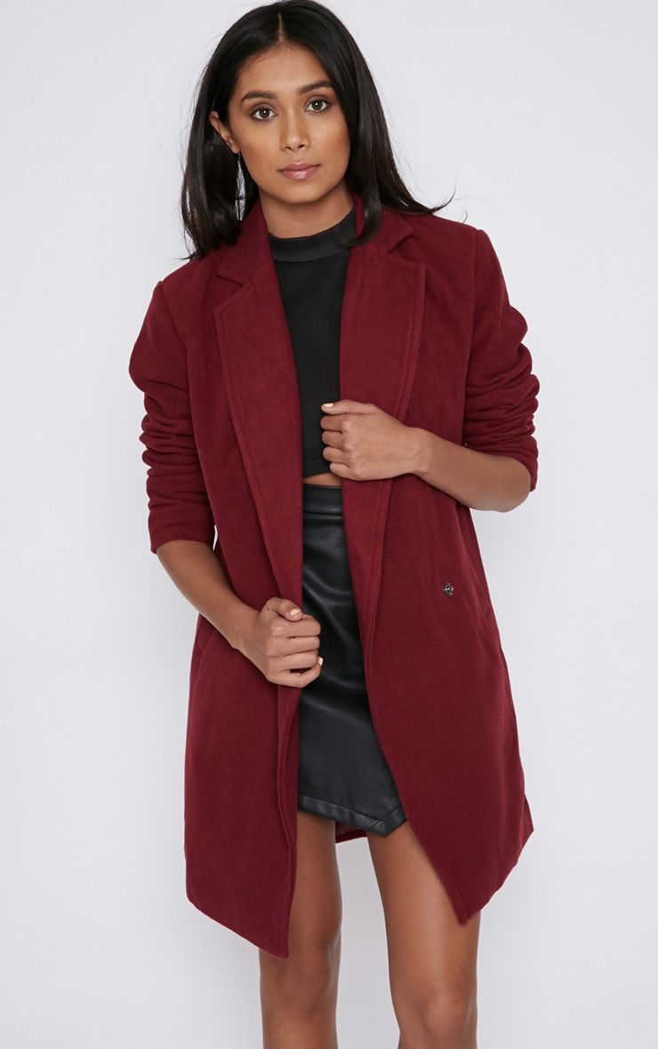 Taylor Burgundy Cross Over Boyfriend Coat 1