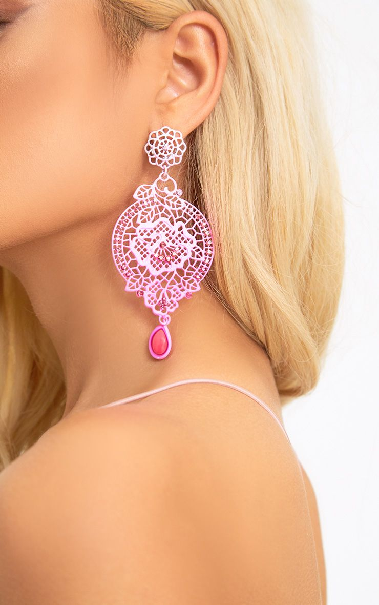 Pink Ombre Statement Earrings