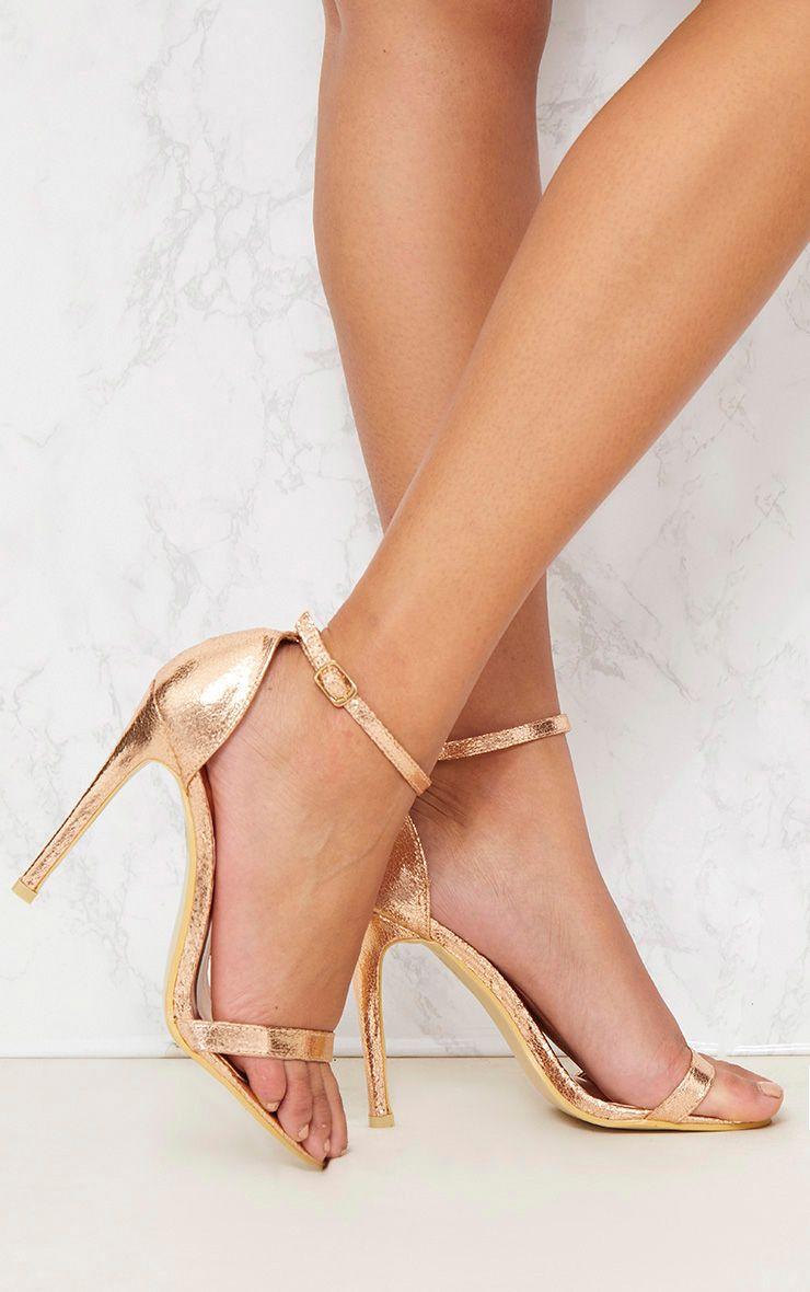 Clover Rose Gold Strap Heeled Sandals