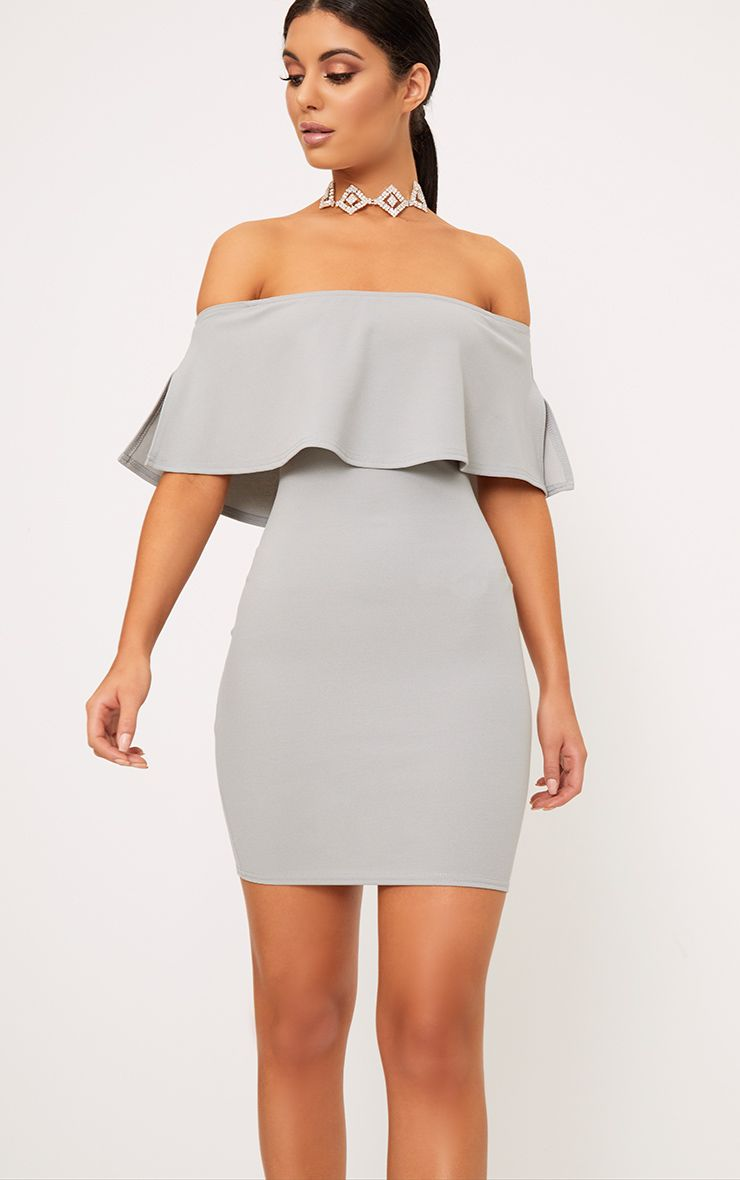 Carley Dove Grey Bardot Frill Bodycon Dress