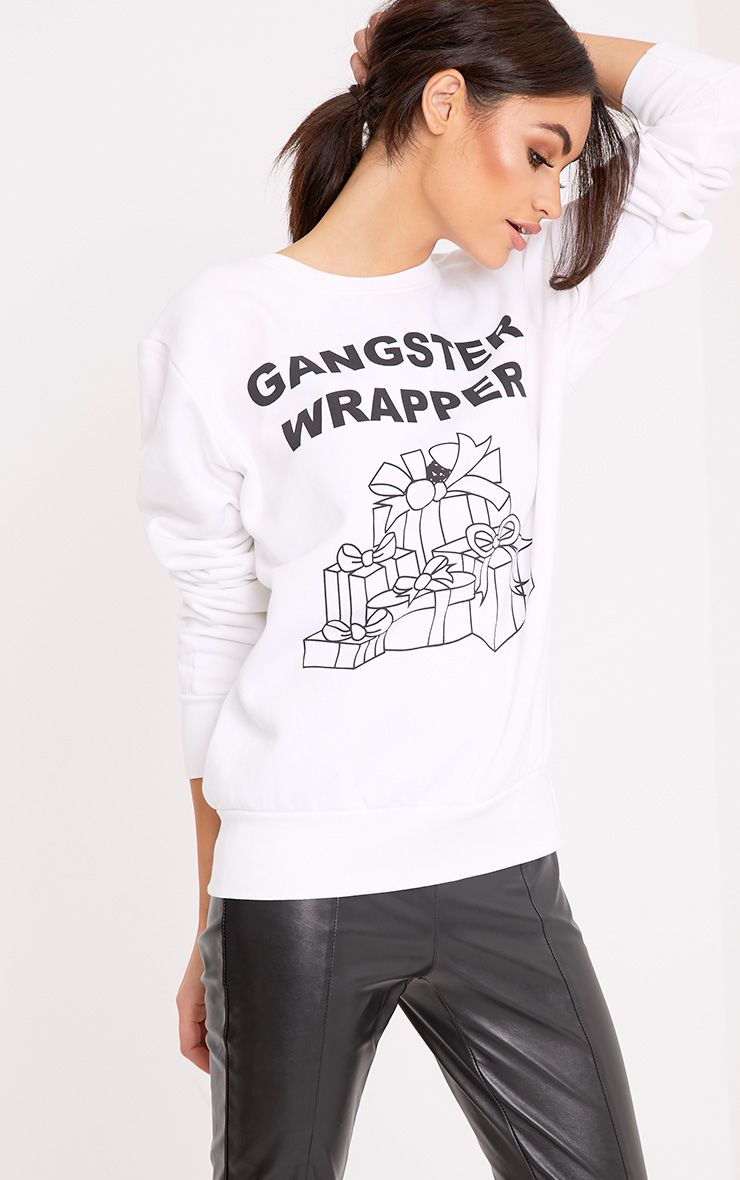 Gangster Wrapper White Christmas Jumper 1