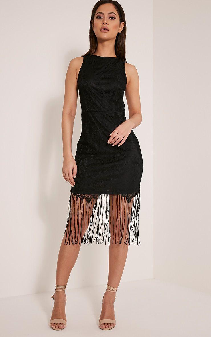 Aleesha Black Open Back Lace Tassel Bodycon Dress