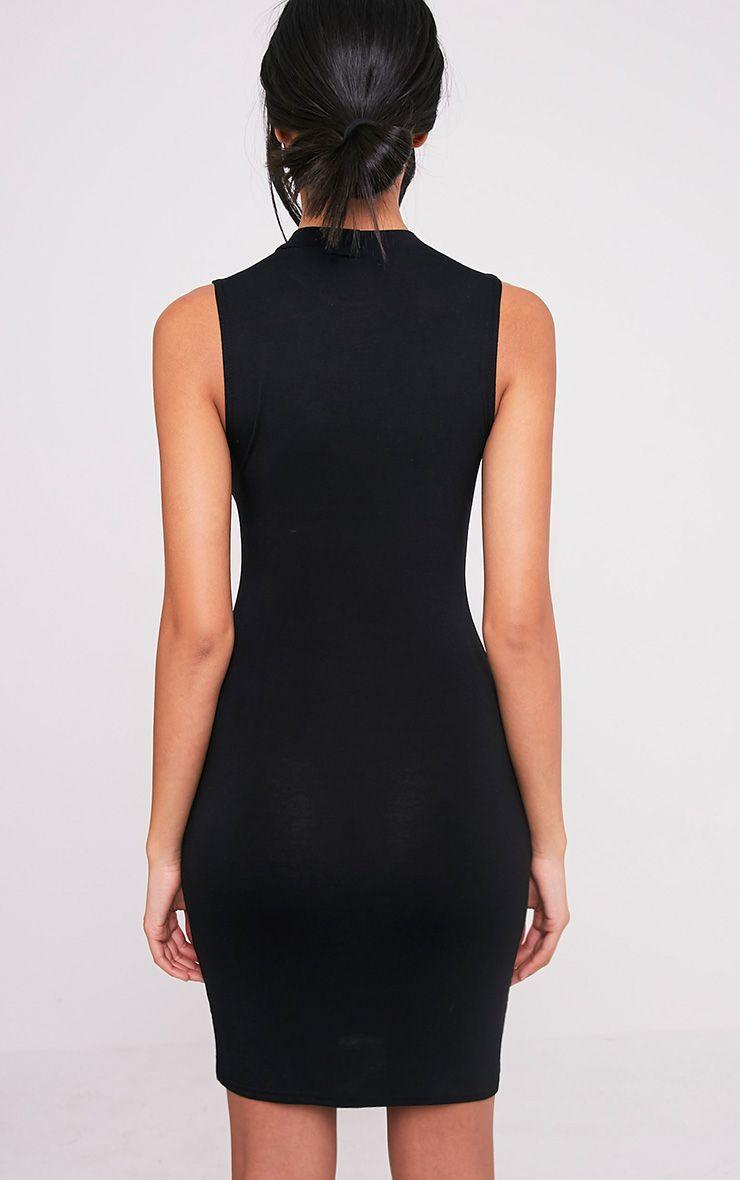 Rebecca robe moulante noire à col montant 2