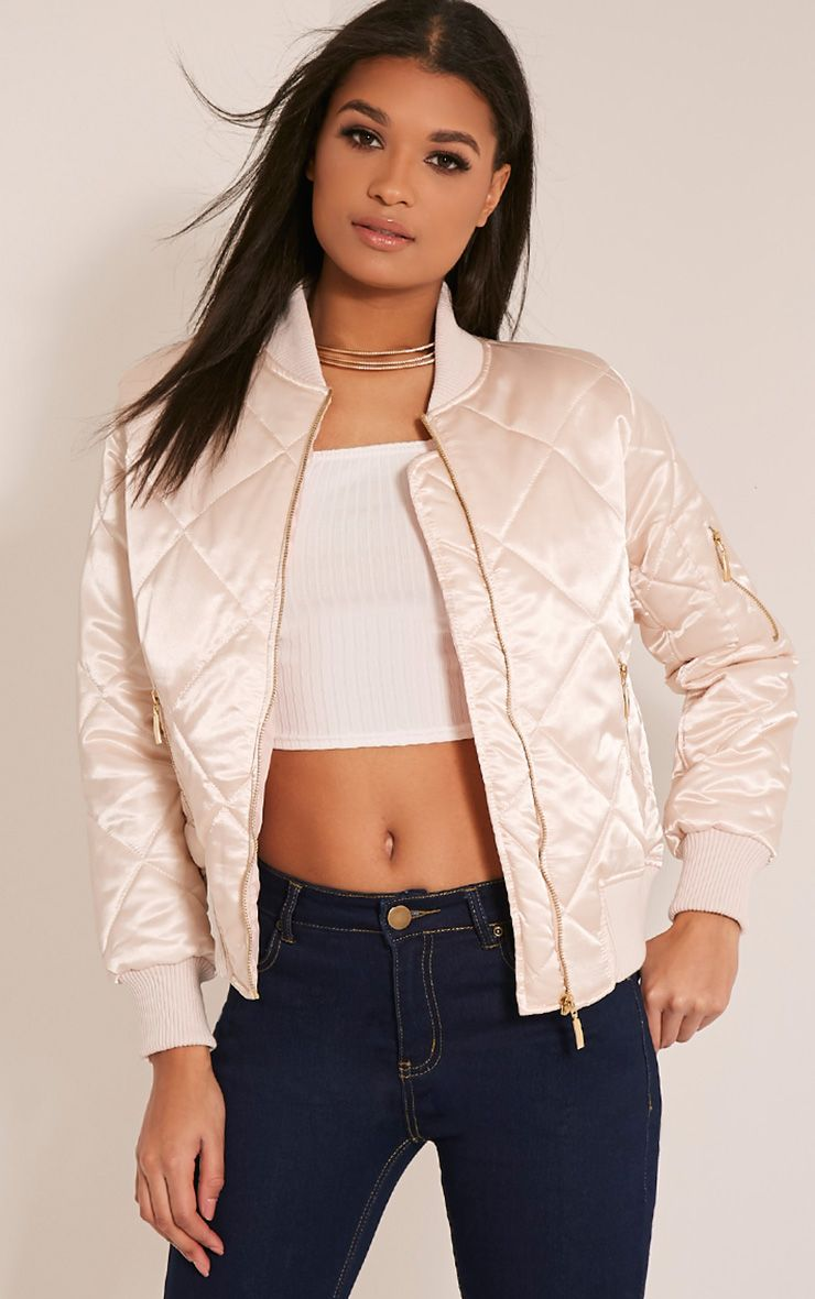 Mayzie Nude Quilted Satin Bomber Jacket 1