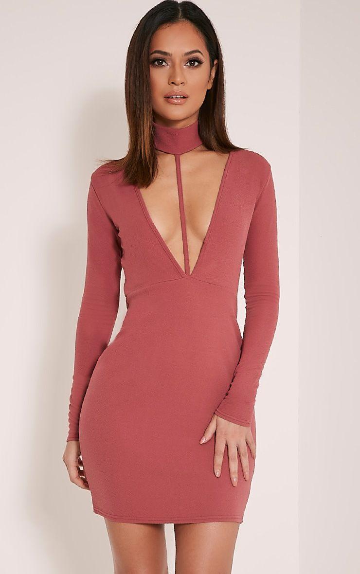Leona Rose Neck Detail Harness Bodycon Dress 1