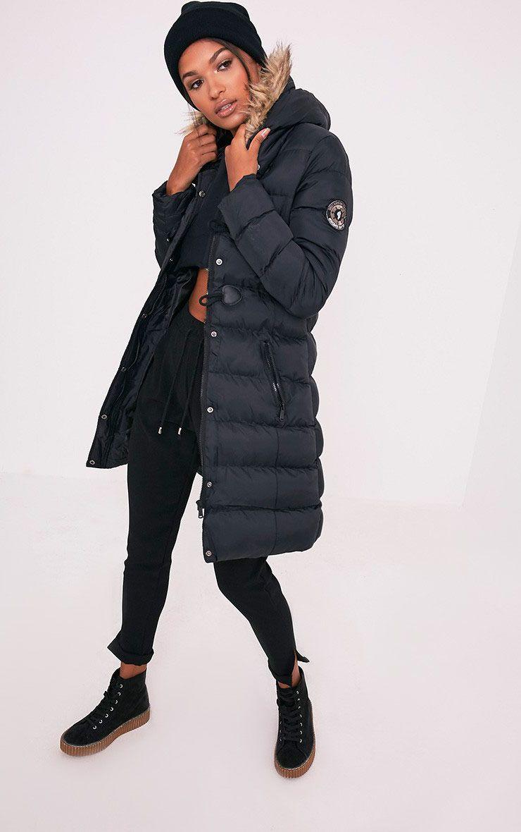Calynn Black Faux Fur Trim Longline Padded Jacket