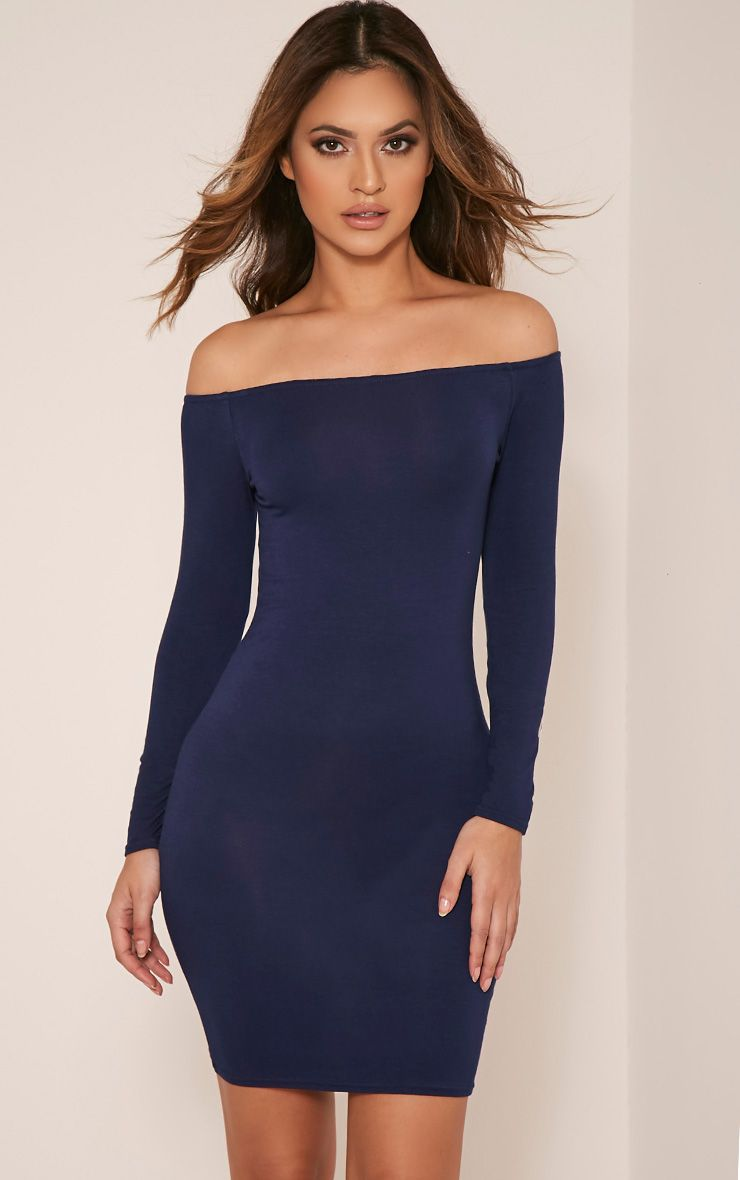 Basic Navy Bardot Bodycon Dress