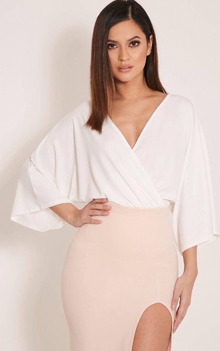 Kataleena Cream Kimono Bodysuit 1