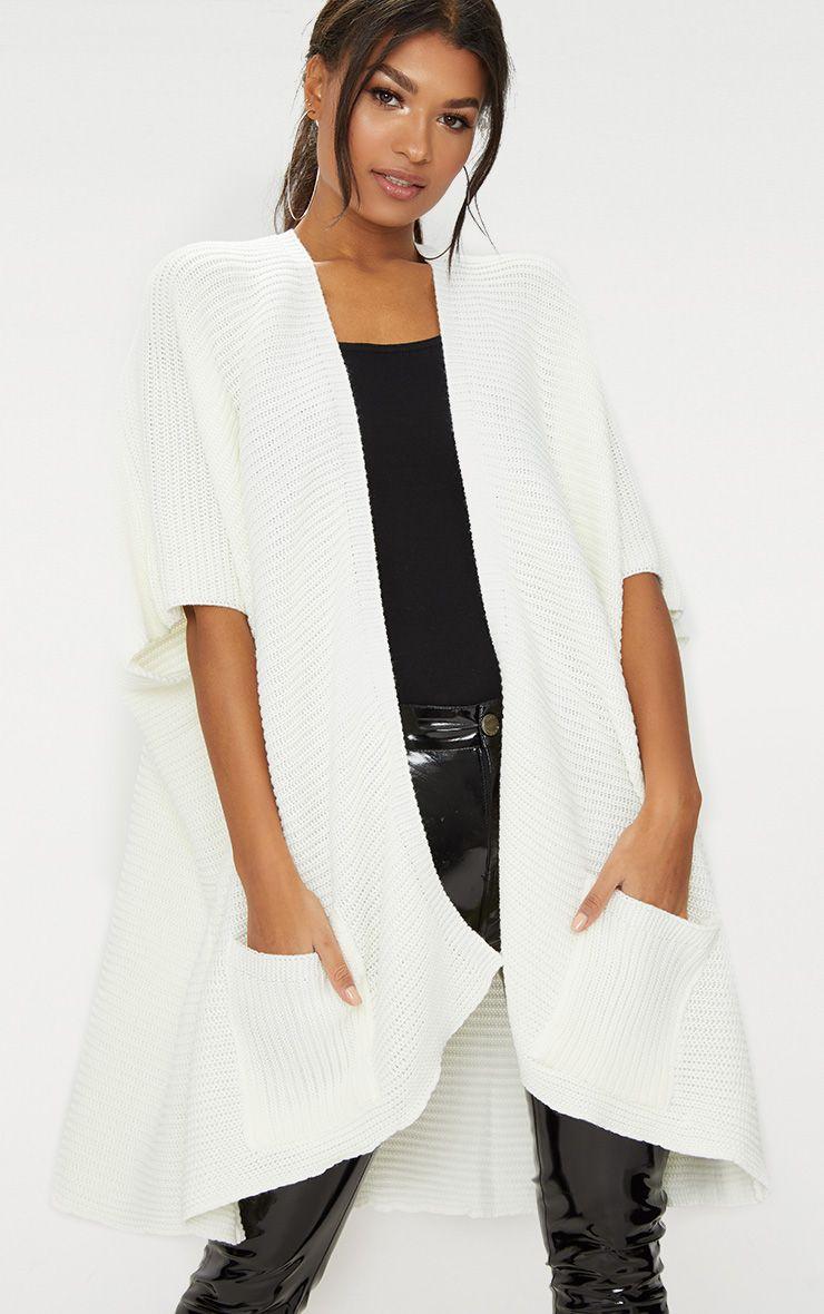 Cream Chunky Knit 3/4 Sleeve Wrap Cardigan