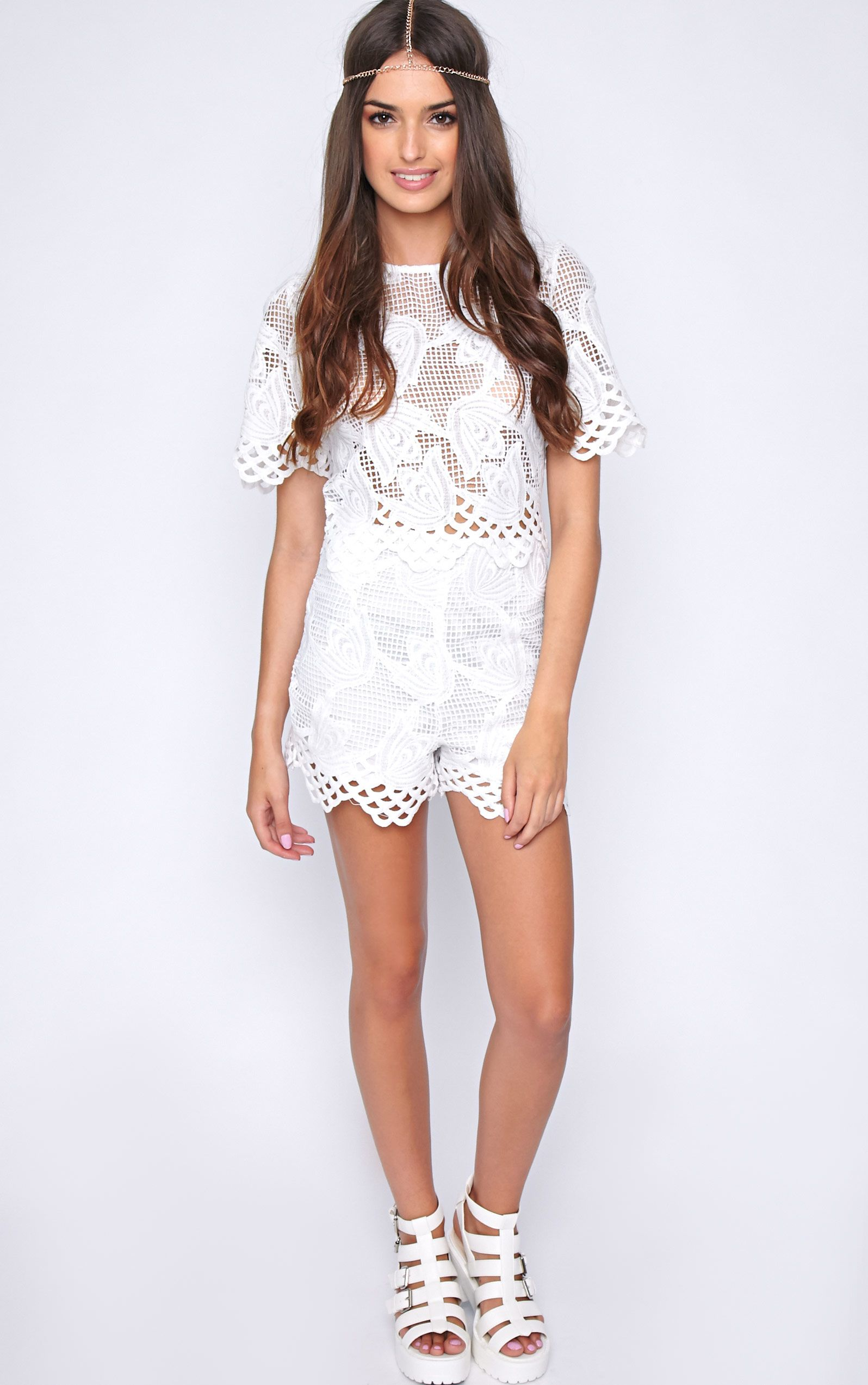 Fern White Crochet High Waist Short  1