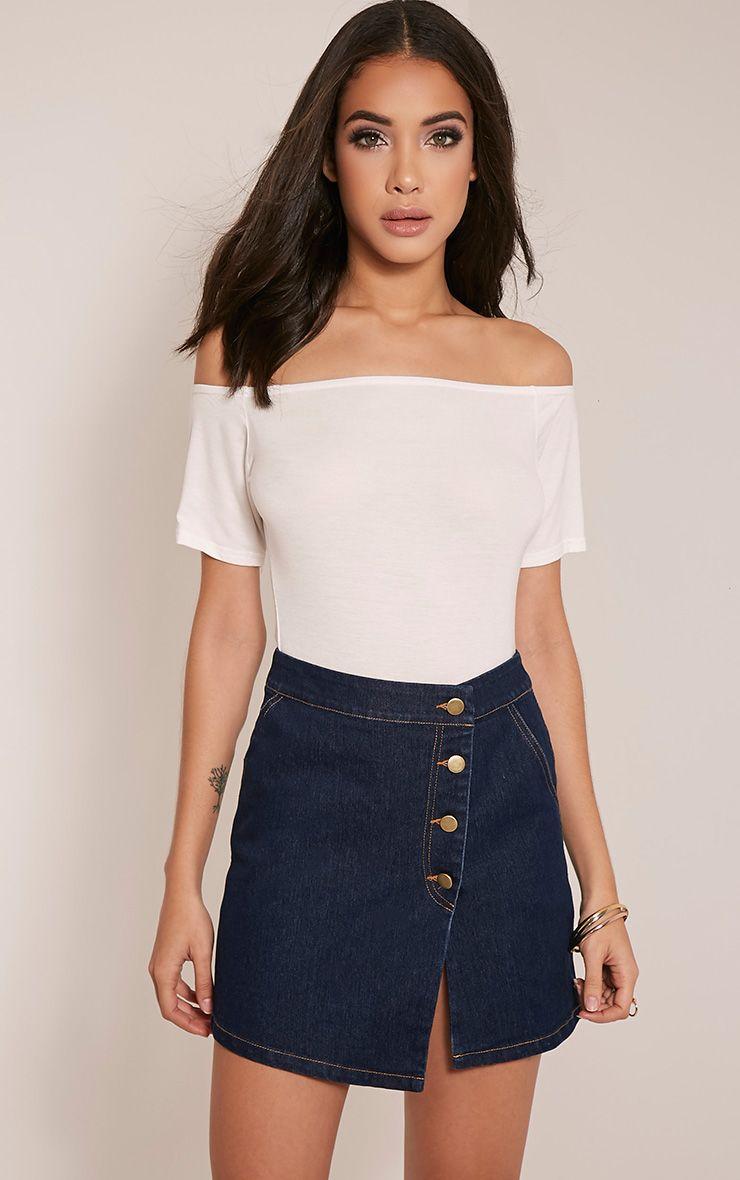Ishani Dark Wash Button Down Denim Mini Skirt