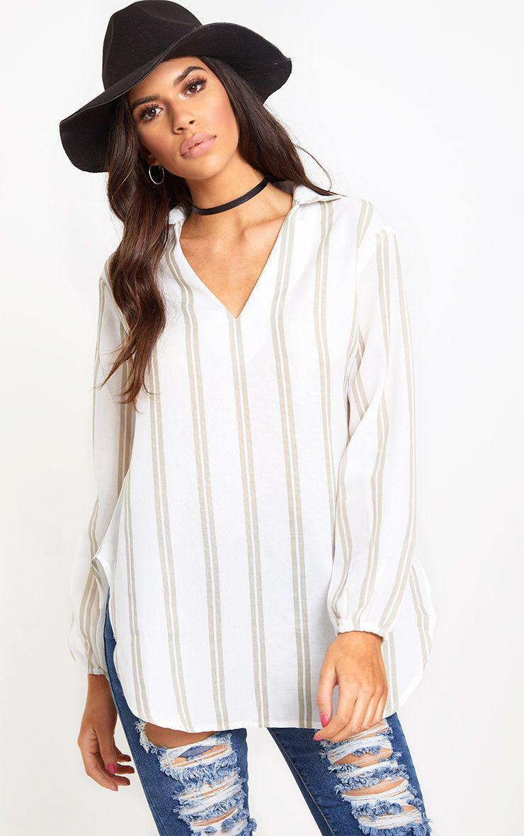 White Oversized Stone Stripe Shirt