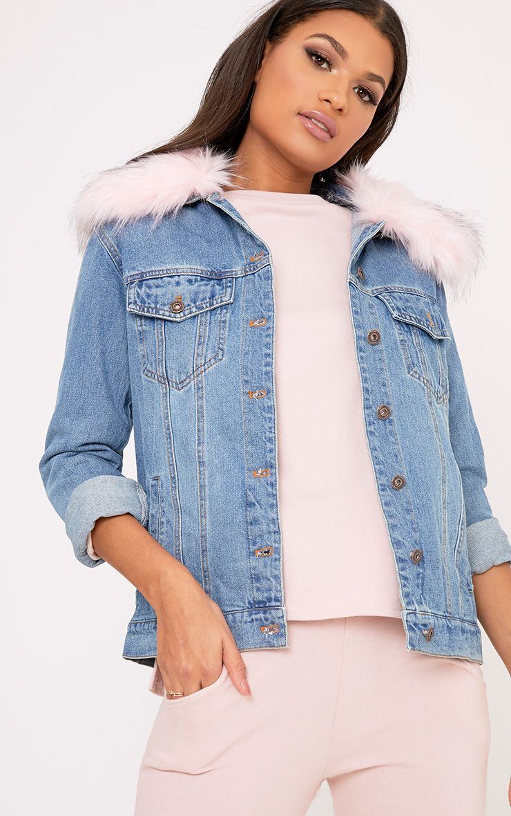 Avanie Light Pink Faux Fur Collar Oversized Denim Jacket