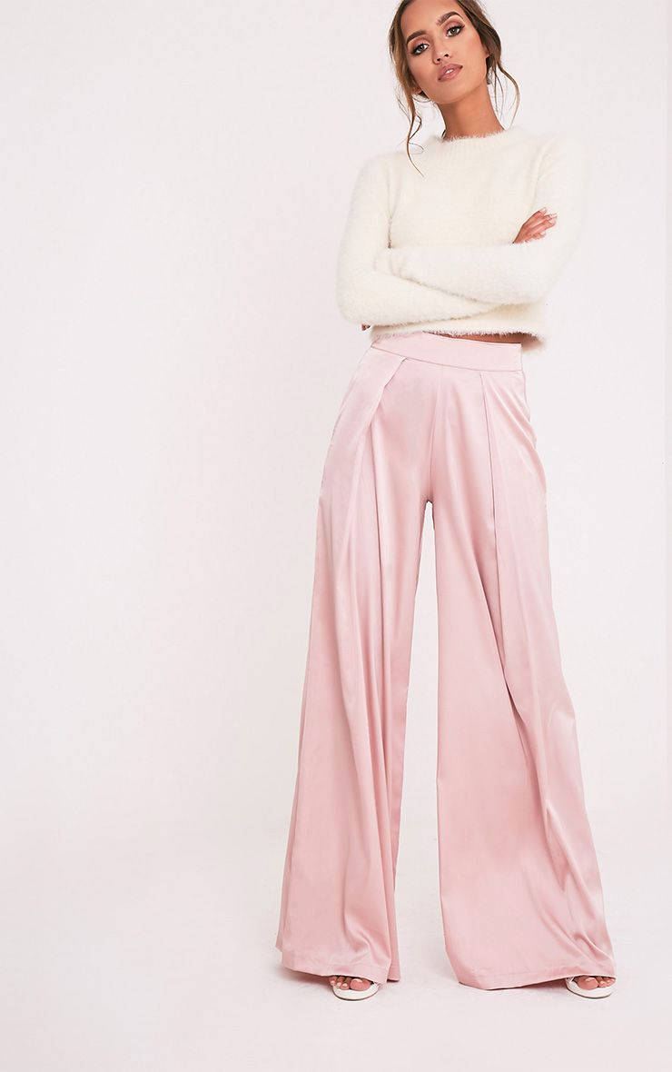 Dasia Dusty Pink Satin Pleated Wide Leg Trousers 1