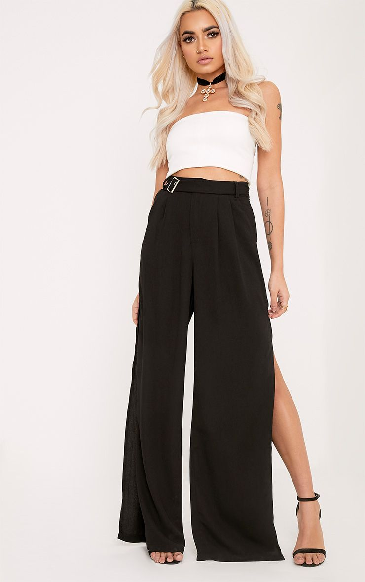 Zaria Black Belt Side Split Trousers