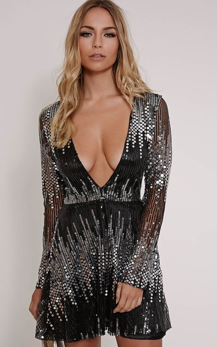 Lexia Black Plunge Long Sleeve Sequin Skater Dress 1