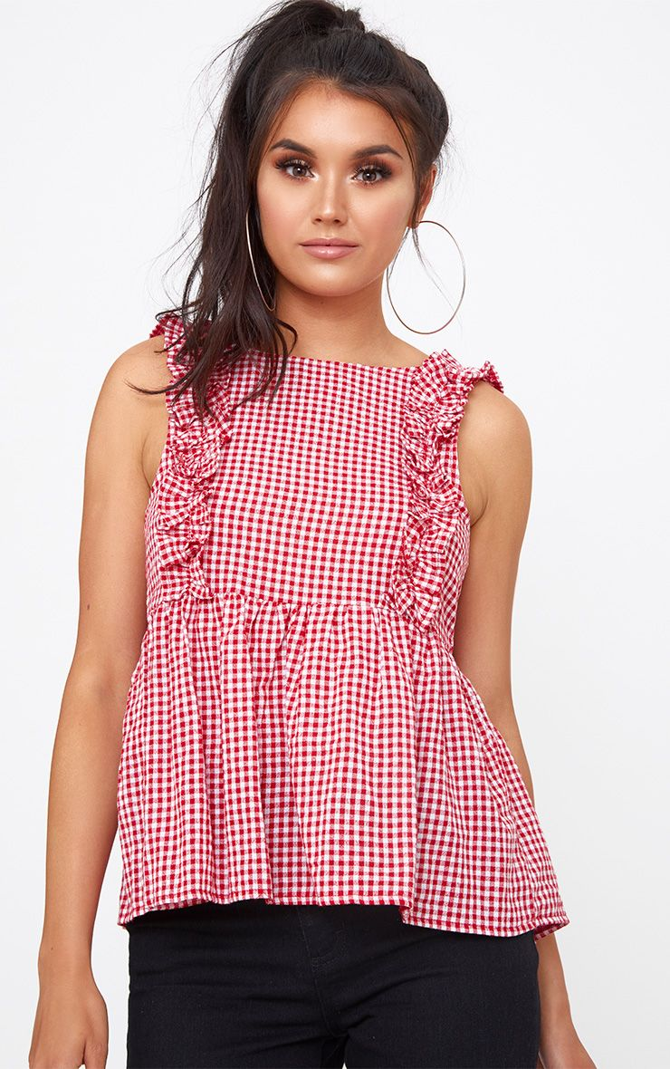 Red Gingham Frill Smock Top