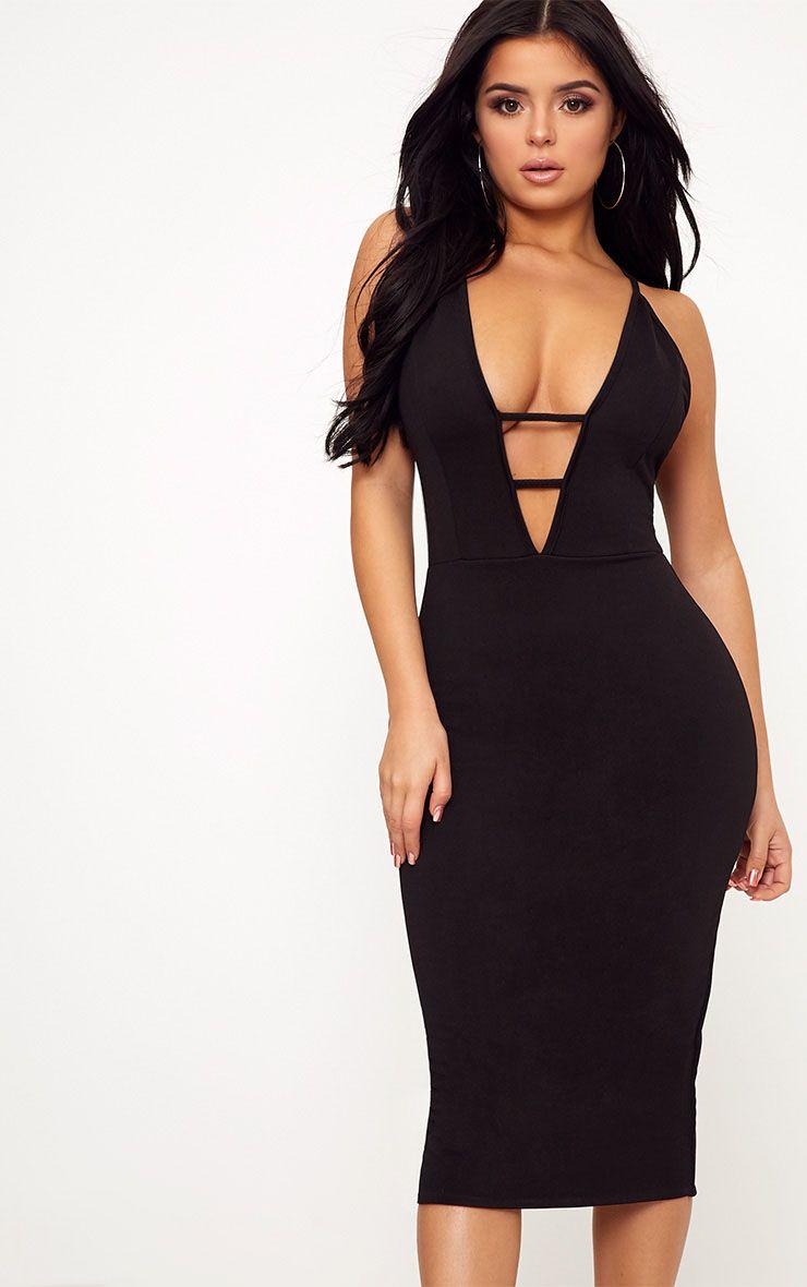 Shape Carys Black Plunge Bar Detail Bodycon Dress
