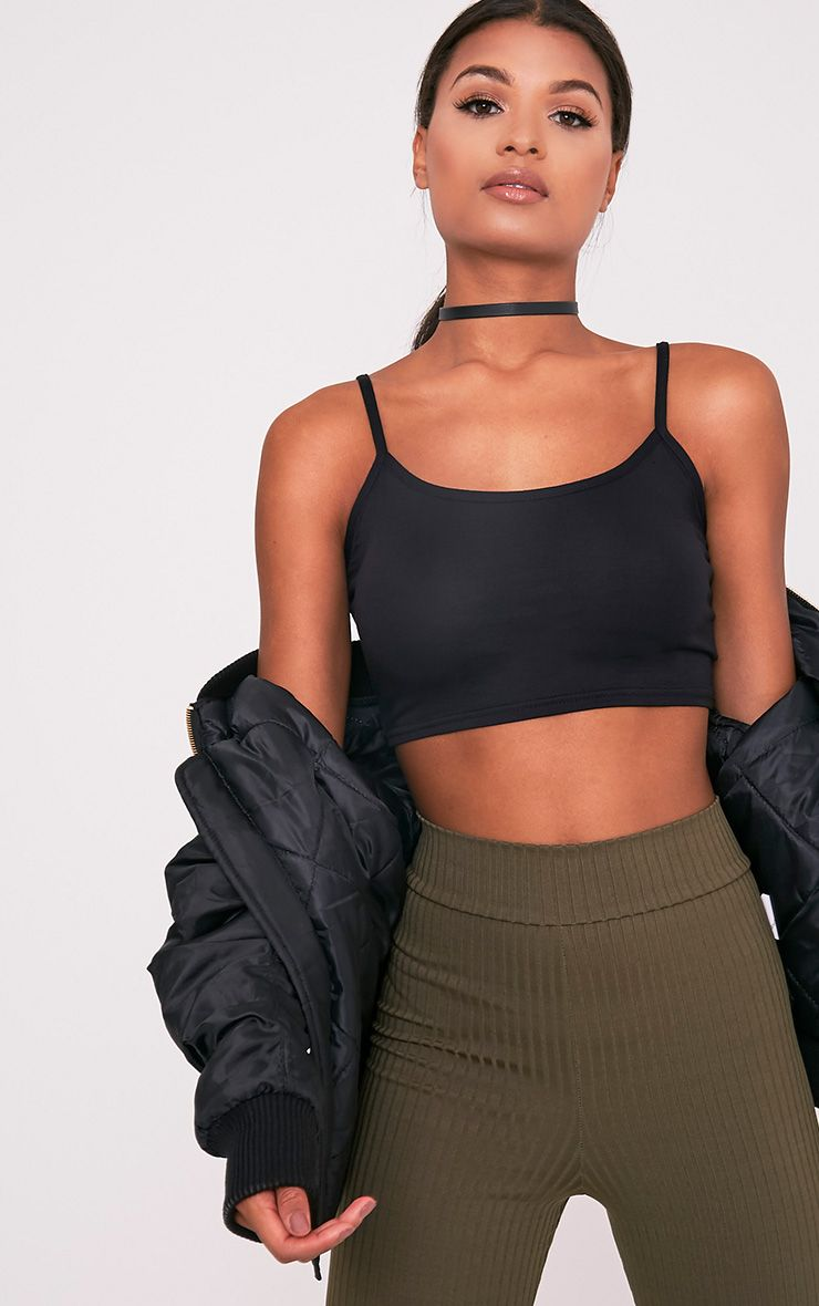 Basic Black Jersey Strappy Crop Top