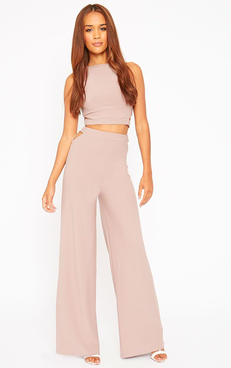 Elphina Dusty Pink Cut Out Palazzo Trousers 1