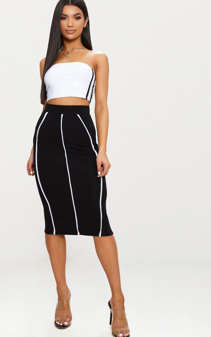 Black Jersey Binding Detail Midi Skirt