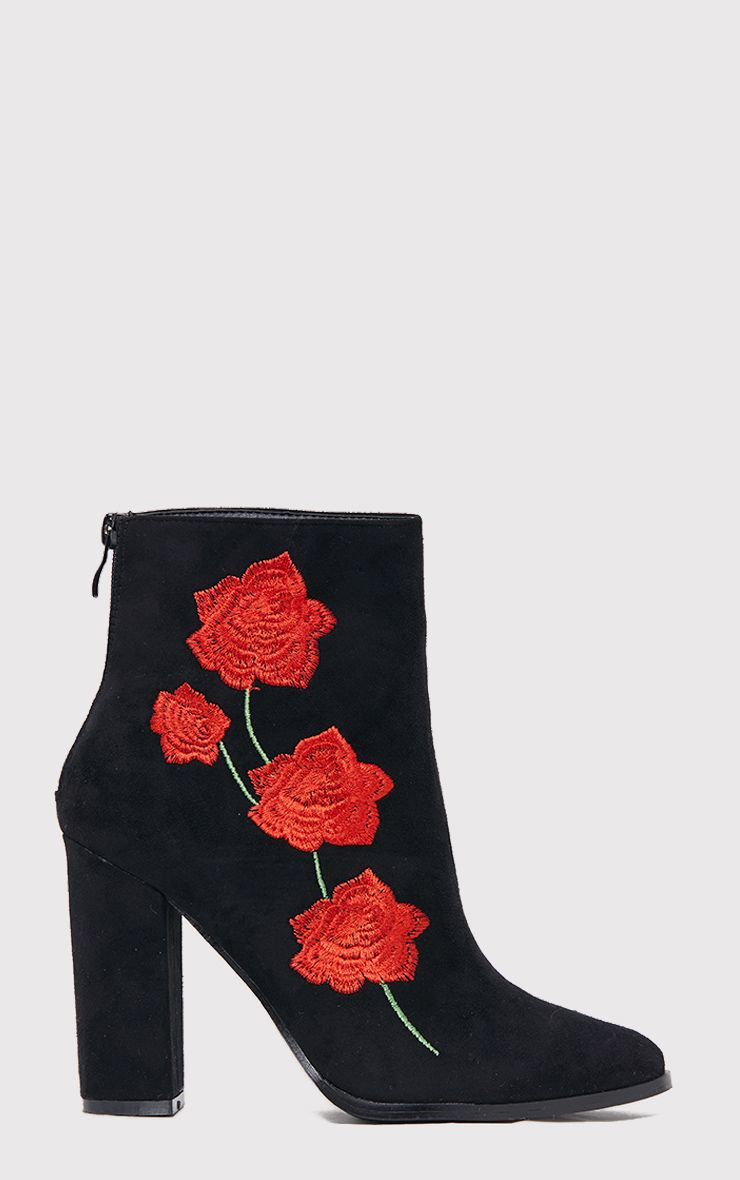 Zaira Black Rose Embroidered Ankle Boots