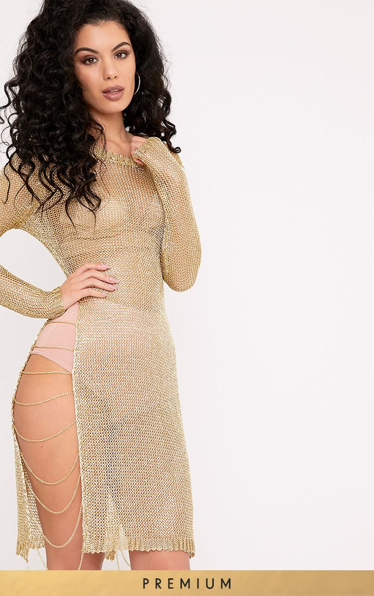 Lilianna Gold Premium Metallic Knitted Sheer Chain Mini Dress