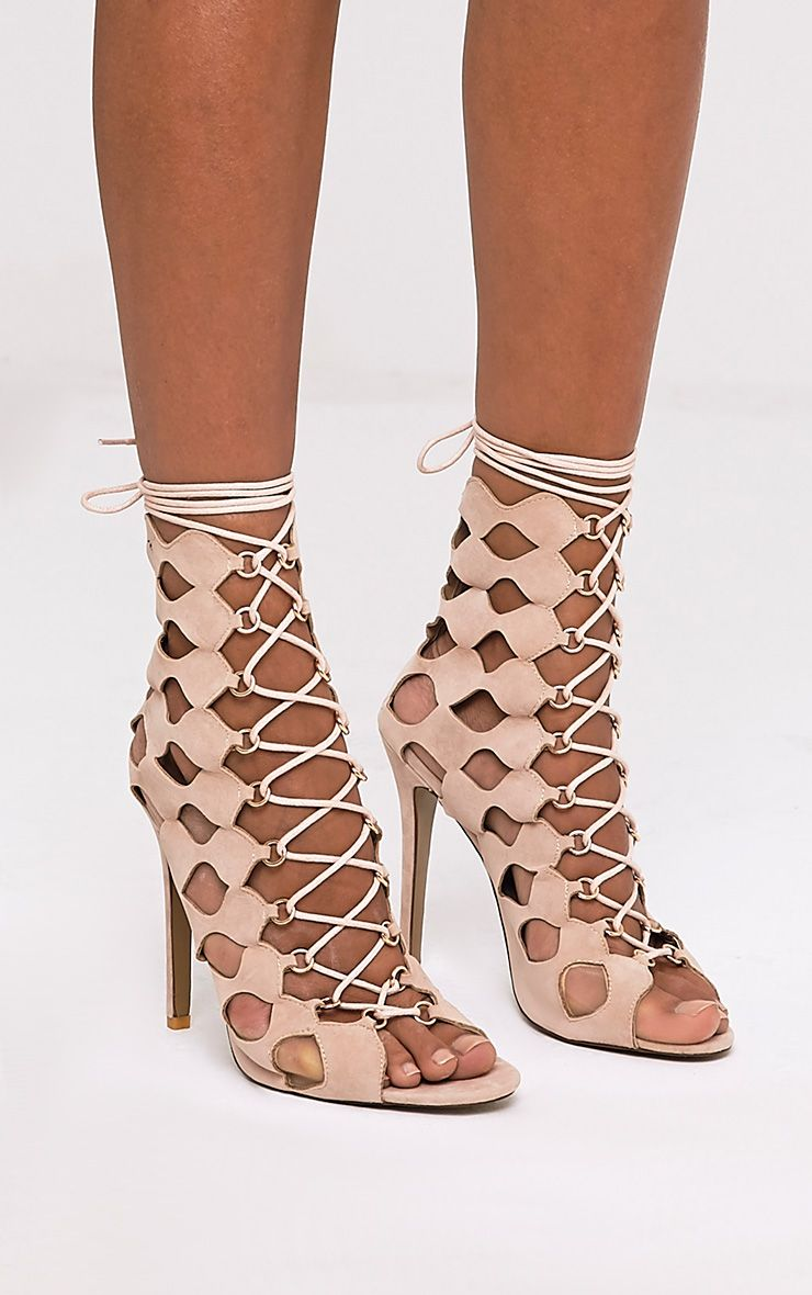 Chey Nude Geometric Cut Out Lace Up Heels 2
