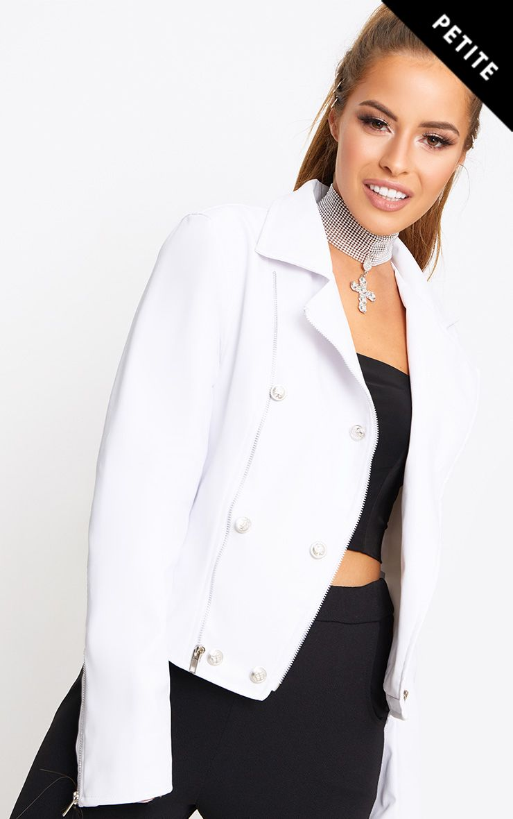 Petite White Military Button PU Biker Jacket