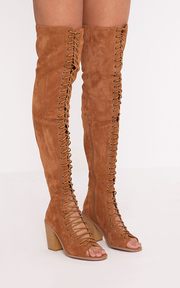 Edena Tan Thigh High Lace Up Boots