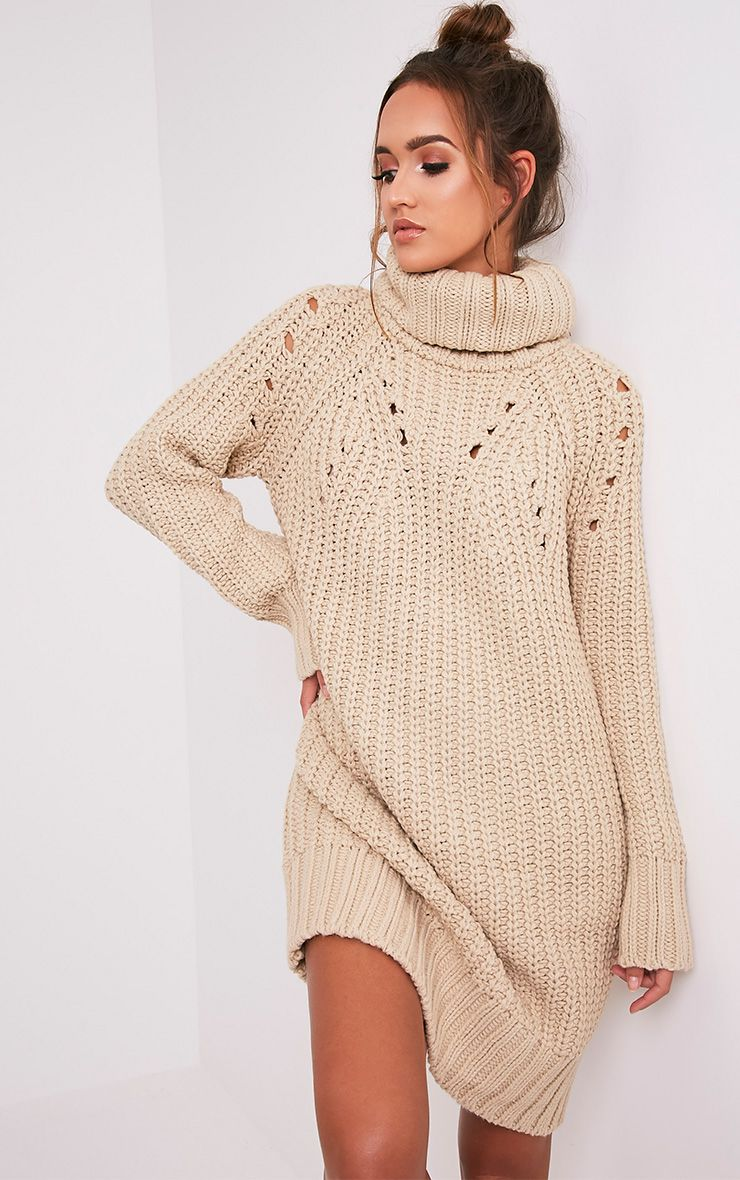 Xael Stone Knitted Roll Neck Overesized Dress