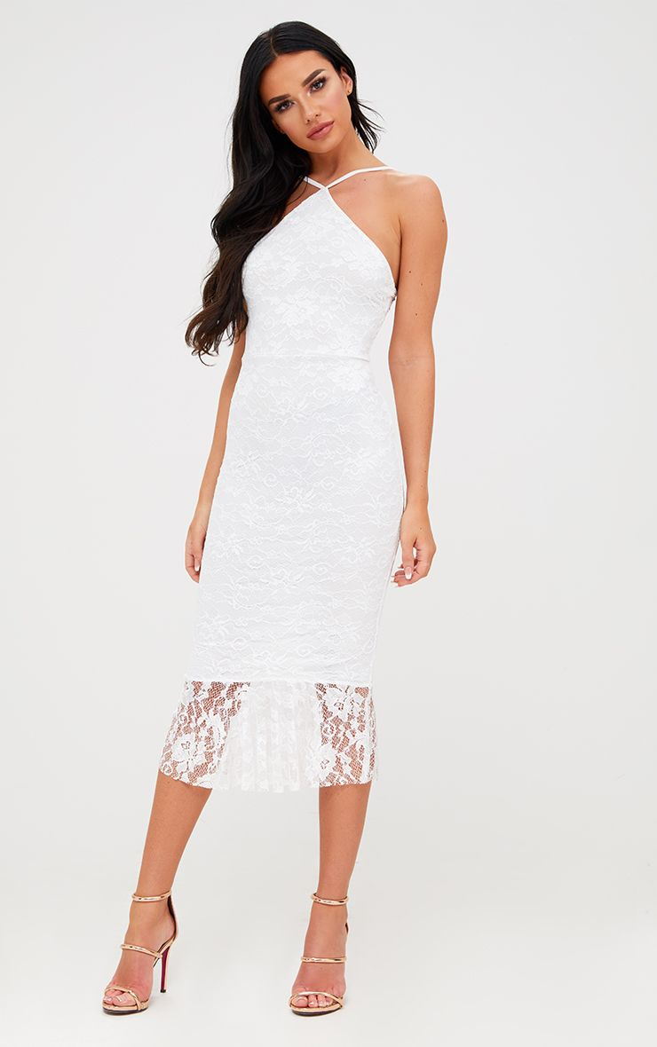 White Lace Strappy Frill Hem Midi Dress