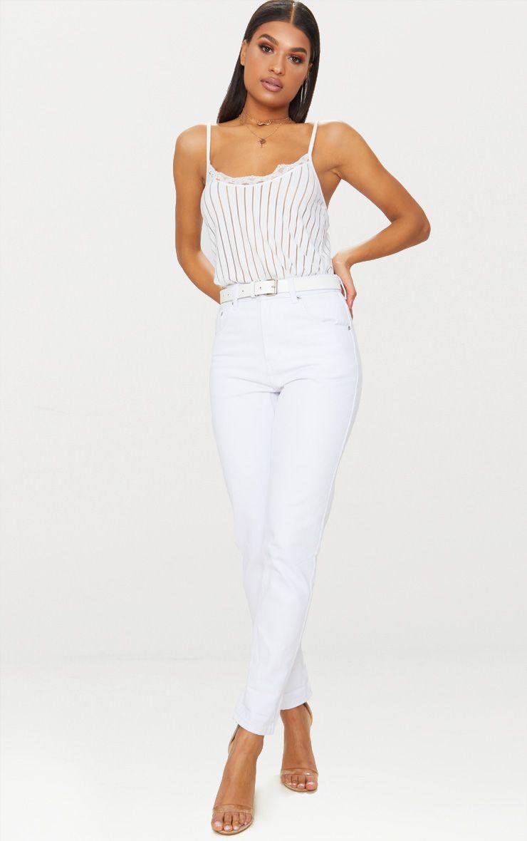 Mom White Jean