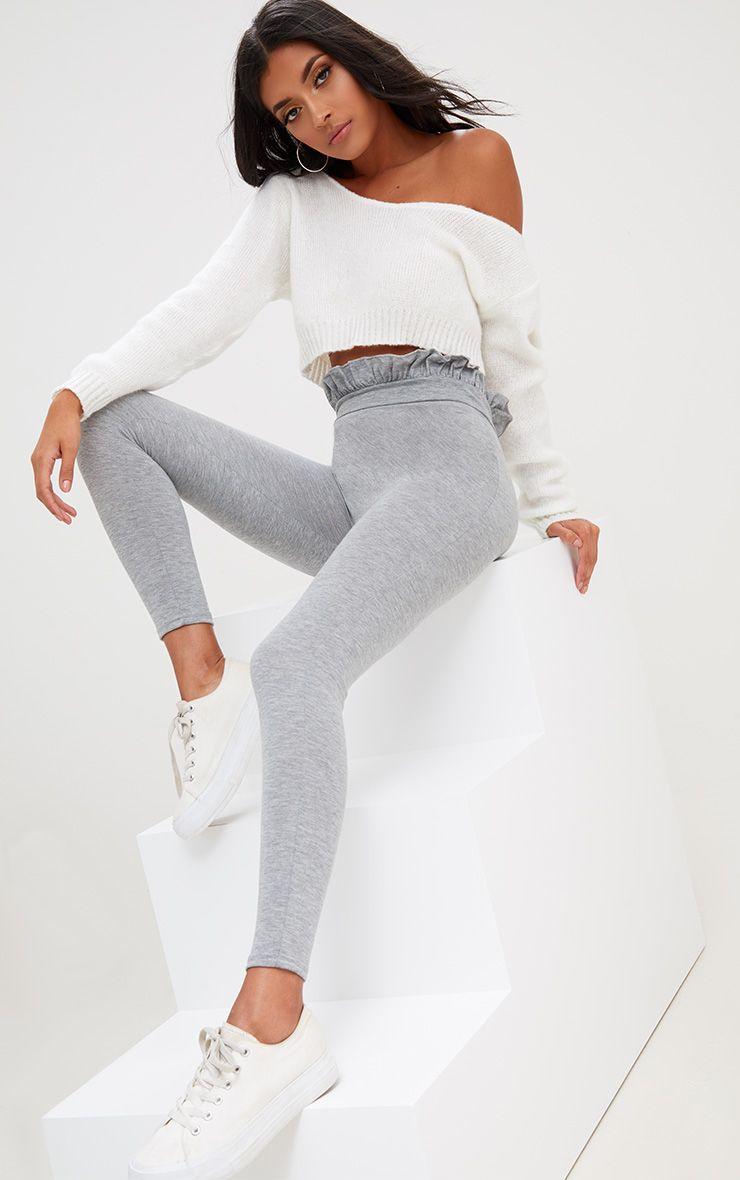 Legging froncé à la taille gris chiné