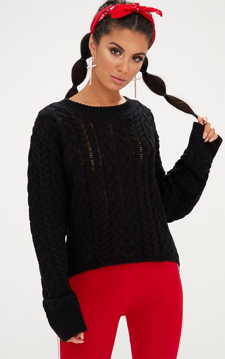 Black Chunky Cable Knit Jumper