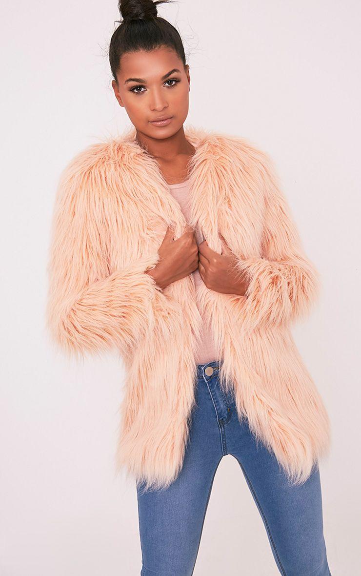 Amaria Nude Shaggy Faux Fur Jacket 1