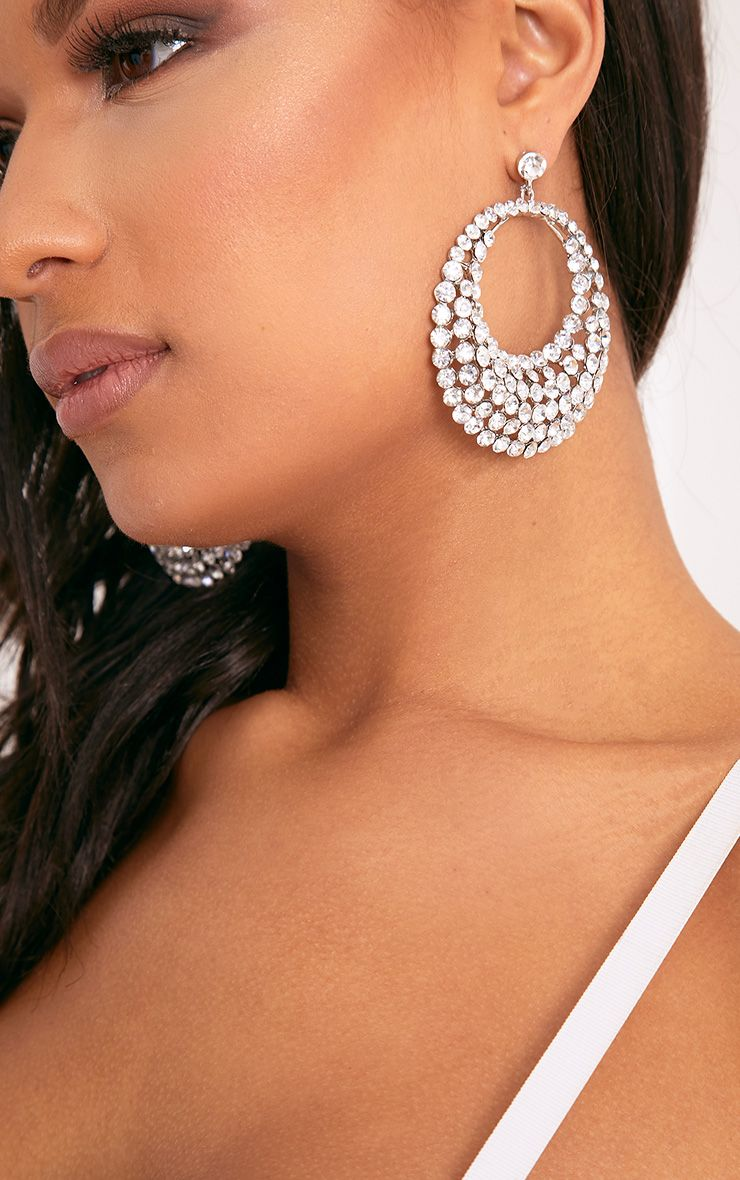 Leya Crystal Statement Hoop Drop Earrings