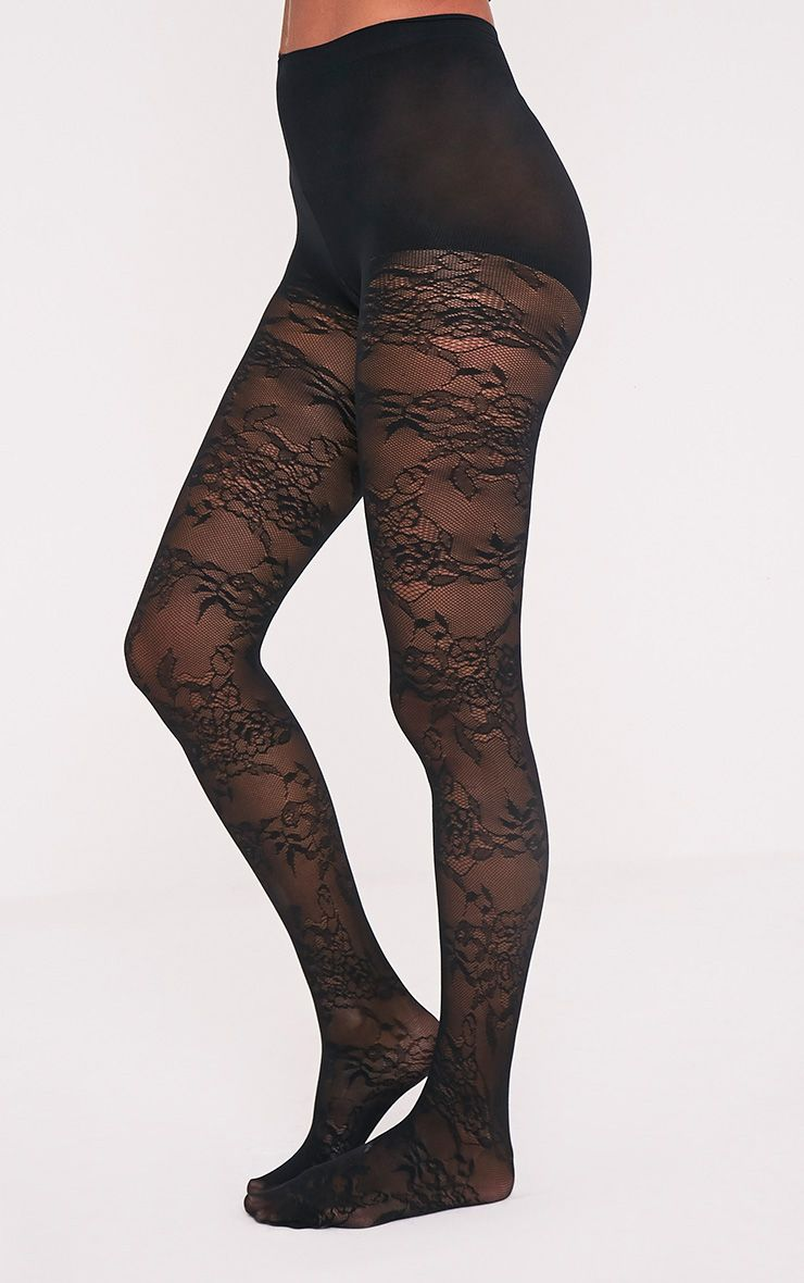 Collants noirs dentelle à motif floral Pretty Polly 3