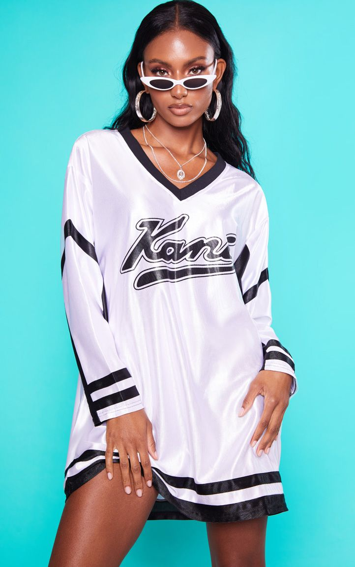 KARL KANI White Baseball Dress