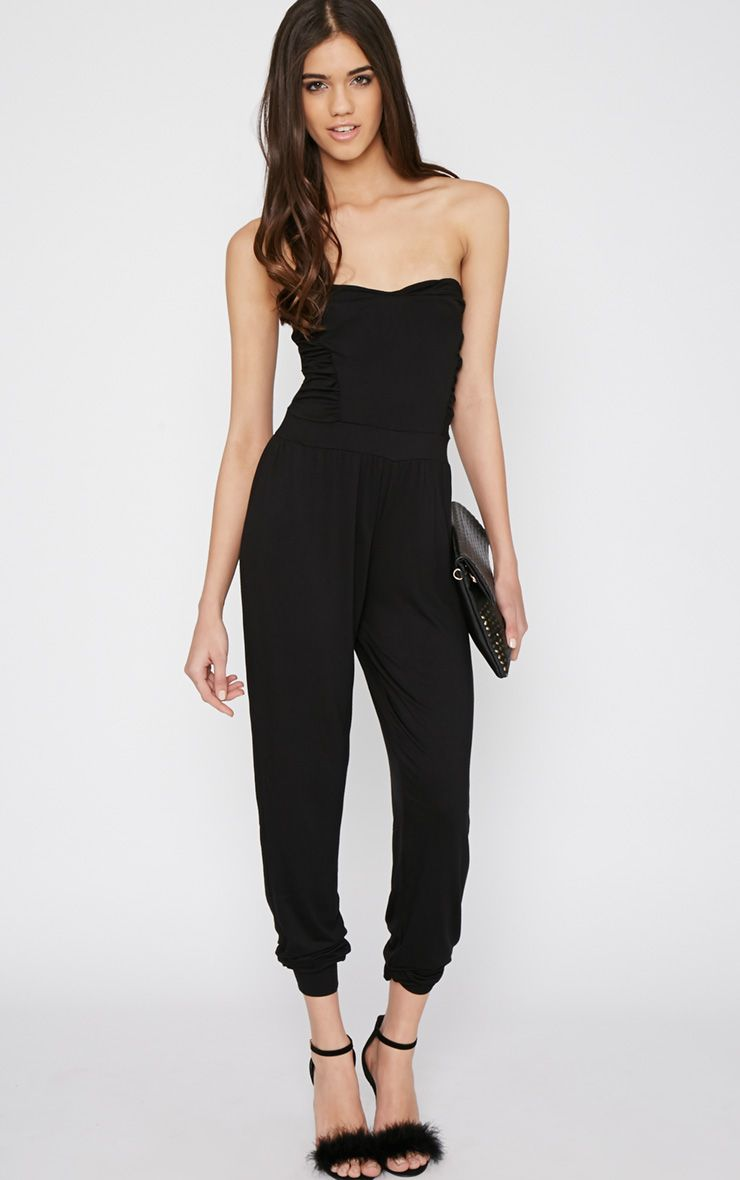 Shelby Black Ruched Jumpsuit 1