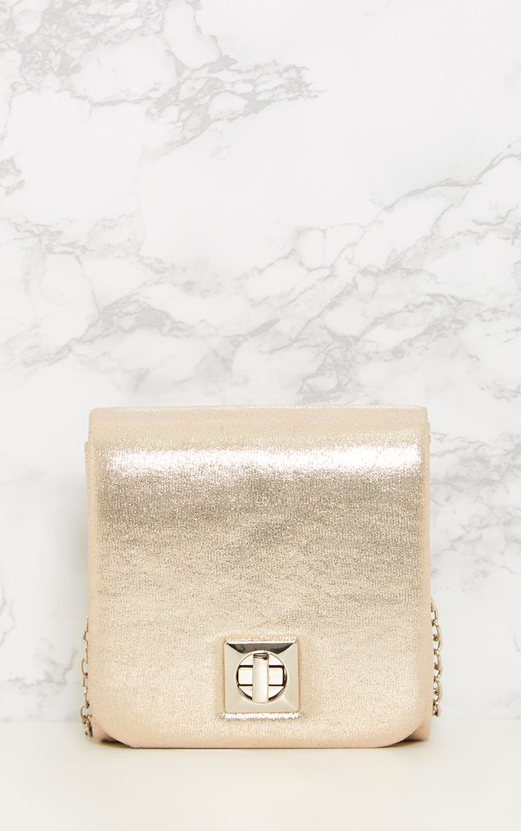 Arona Gold Square Twist Lock Bag