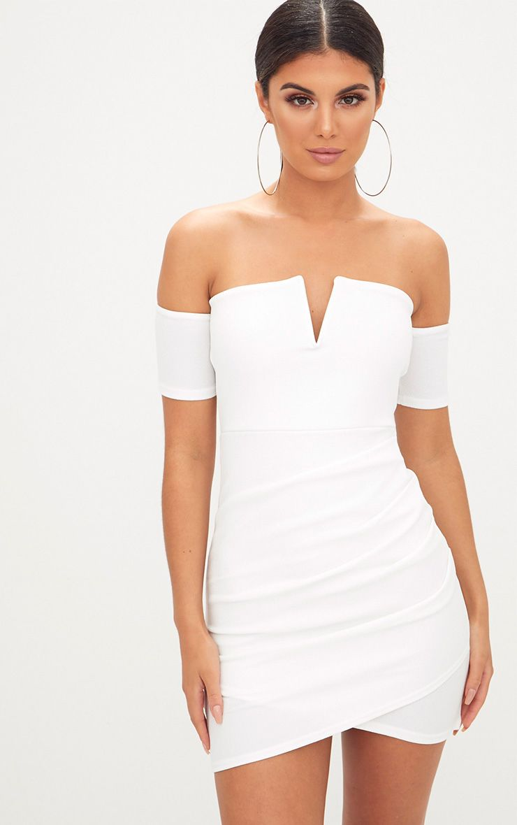 White Bardot Wrap Front Bodycon Dress