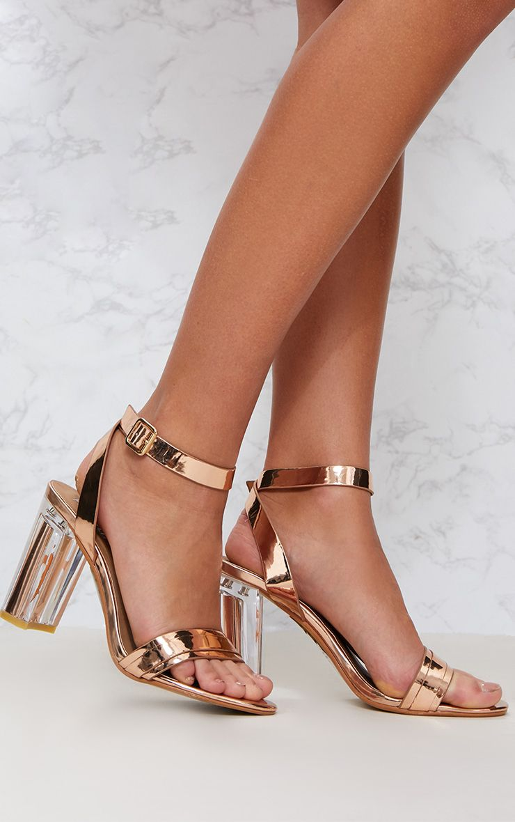 Rose Gold Perspex Block Heel Sandal