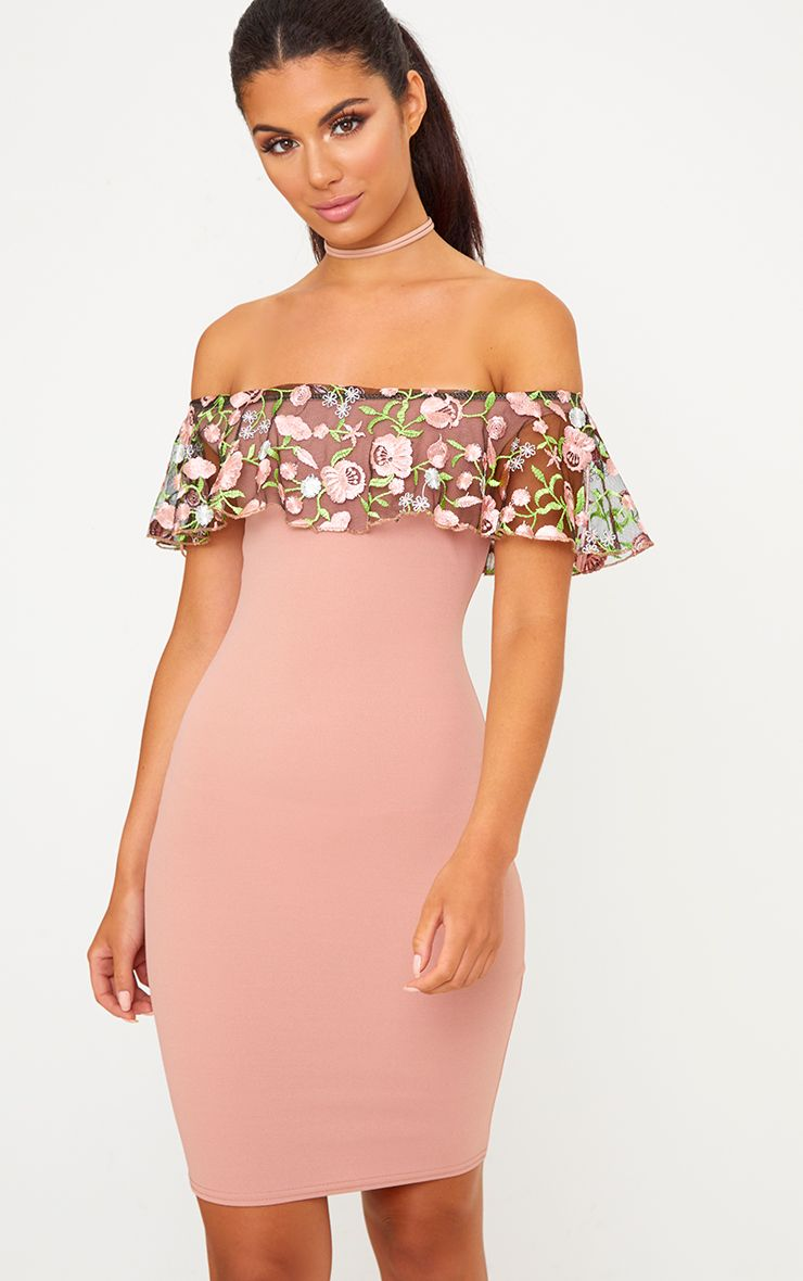 Rose Embroidered Bardot Bodycon Dress