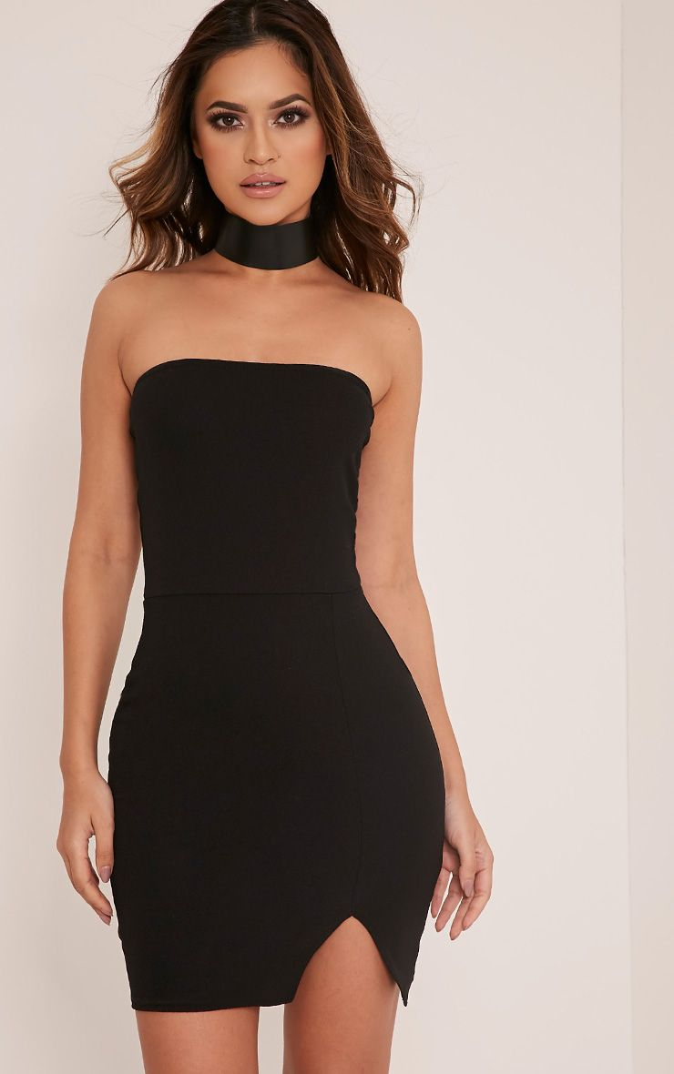 Layala Black Split Detail Bandeau Bodycon Dress