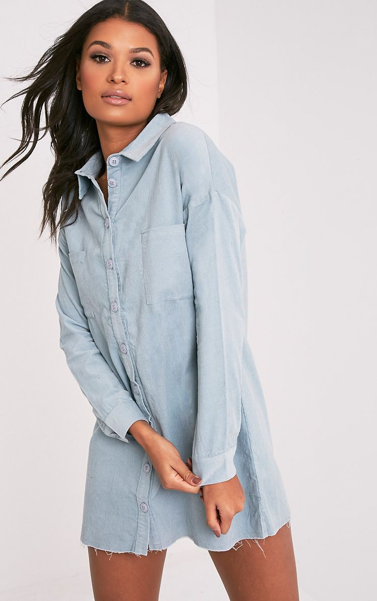 Tiyra Pale Blue Corduroy Shirt Dress
