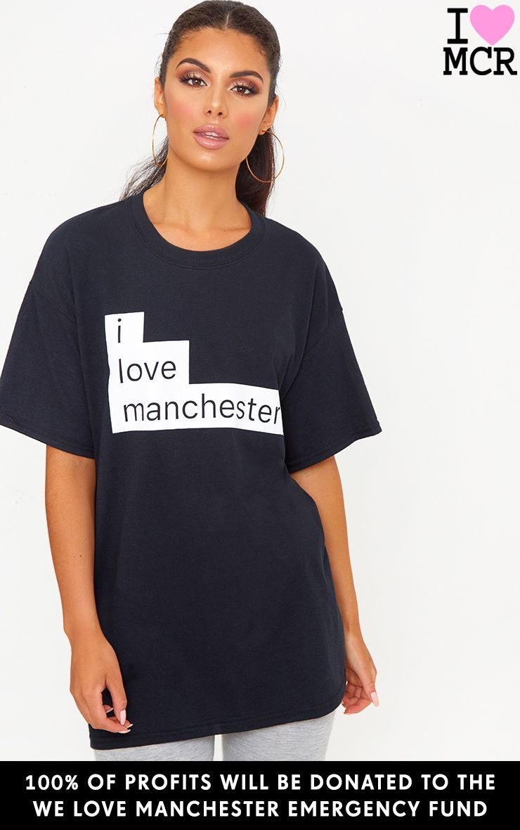 Charity Black I Love Manchester T Shirt