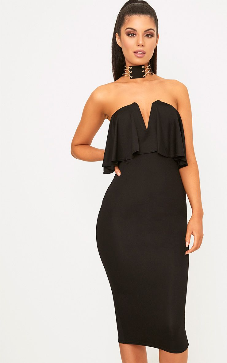 Black Frill Plunge Bandeau Midi Dress